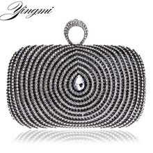 Elegant Finger Rings Diamonds Women Evening Bags One Side Rhinestones Small Purse Day Clutch Wedding Chain Shoulder Bag