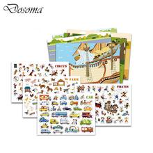 Different Boxed 4 Theme Over 600 Pcs Cartoon Static Stickers Toy Kids Reusable Scrapbook Sticker DIY Sticker Toys For Children
