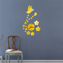 Hot!Butterfly Removable Diy Acrylic 3D Mirror Wall Sticker Decorative Clock 2017 New Best Price Drop Shipping Jun23