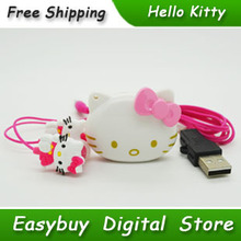 10 pcs/lot 100% Brand New Mini Fashion Hello Kitty Shaped Card Reader MP3 Music Players With Hello Kitty Earphone&Mini USB