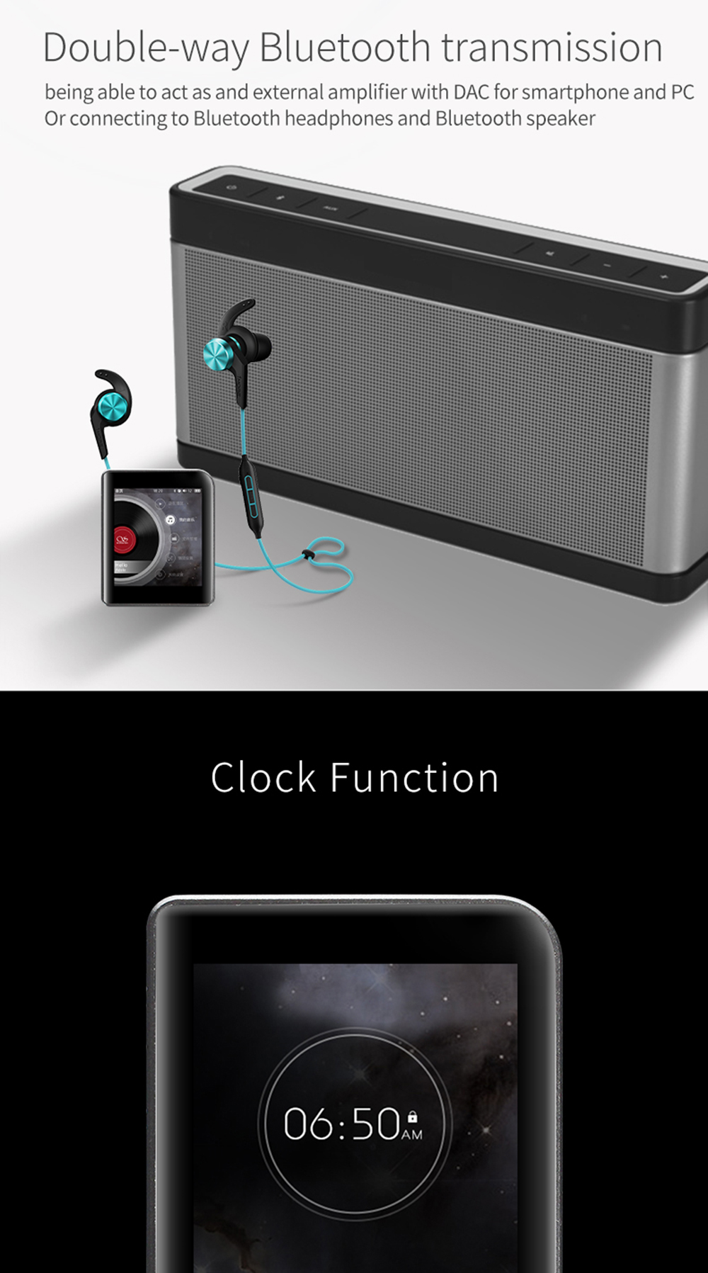 Shanling M1 Bluetooth APTX Mini DAP DSD Lossless Audio HIFI MP3 Portable Music Player ( leather case +screen protective free)