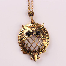 2017 New Design Antique Gold Chain Pendant Necklace Magnifying Glass Necklace Owl Pendant Necklace Retro Bijoux For Gift(China)