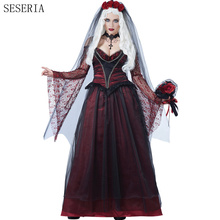 SESERIA 2 Pcs Ghost Bride Costume for Women Adult Halloween Cosplay Fancy Dress Vampire Zombie Ghost Bride Costumes Long Dress