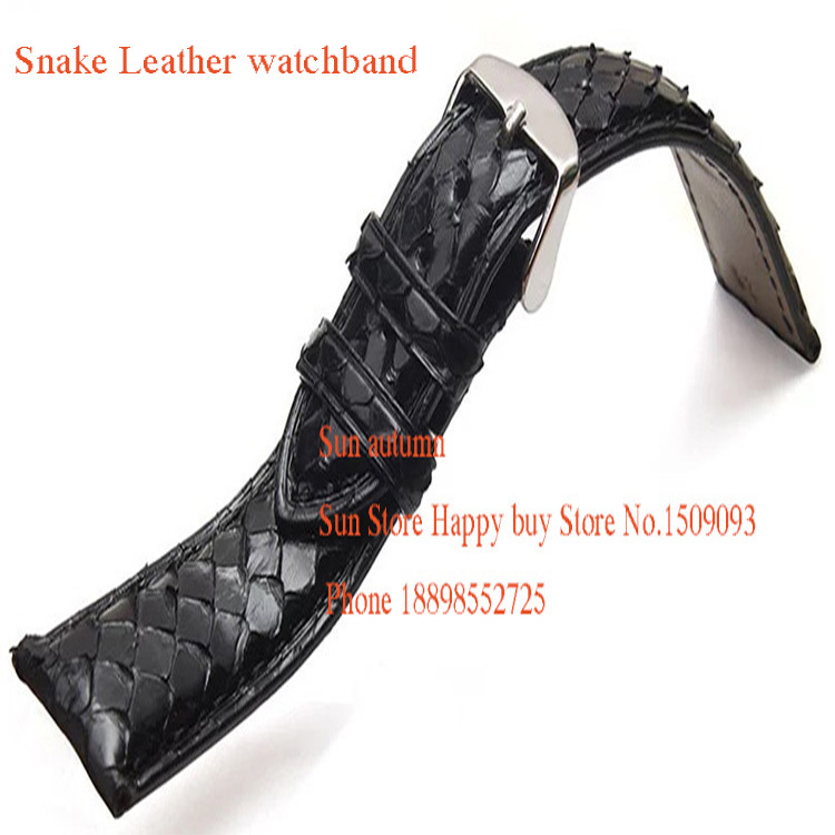Watchband Snake Leather waterproof watches straps men fashion accessories Bracelet 18mm 19mm 20mm 21mm for ar watchband<br>