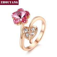 Top Quality ZYR214 Pink Flower Crystal Ring Rose Gold Color Austrian Crystals Full Sizes Wholesale(China)