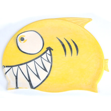 Hot Sale Cute Lovely Cartoon Fish Swimming Cap for Kids Children Pure Silicone Bathing Cap Swim Sports Accessories Random Color(China)