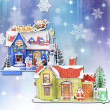 HAOCHU 1set Christmas Cartoon House Puzzle 3D Handmade Paperboard Christmas Ornament Decor Home Market Store Scene Layout  Drop