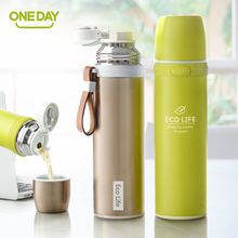 Hot Thermos Cup Stainless Steel Thermo Tumbler Vacuum flask Insulated Car Coffee Mug Thermal Bottle For Water Food Jar Leather(China)