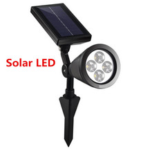 1pcs Light Solar Power 4 Bright LED White/Warm White Spotlight Garden Outdoor Path Park Tree Lawn Lamp(China)