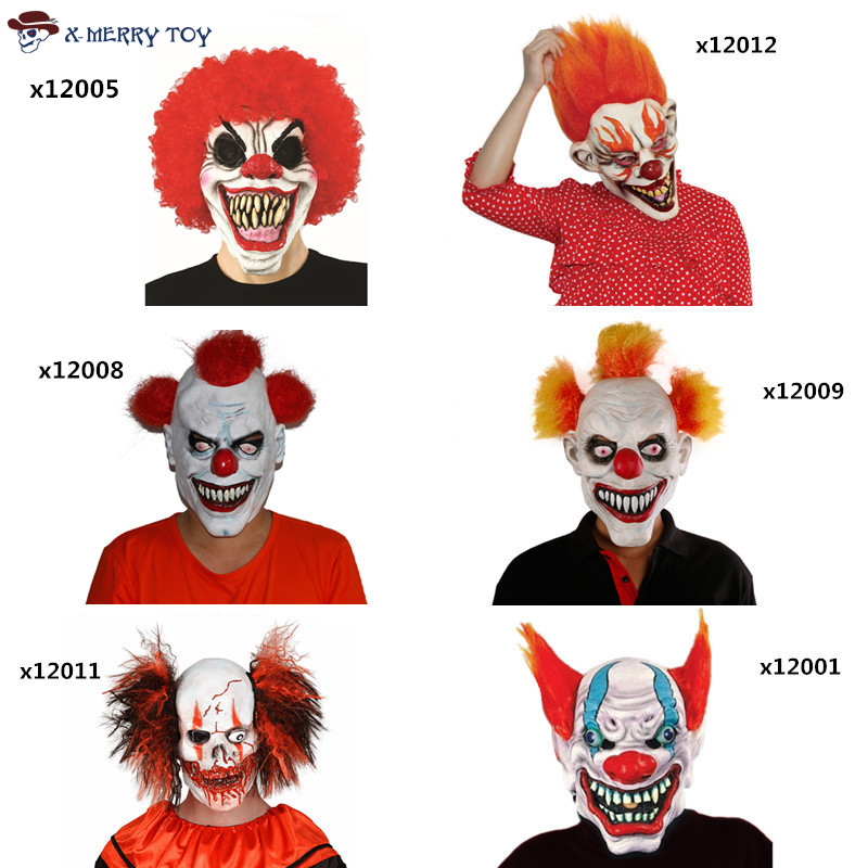 X-MERRY игрушки Бесплатная доставка Джокер клоун костюм Маска Жуткий зло страшно Хэллоуин маска клоуна(China)