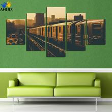 S 5 Panel Frameless Picture Train City Landscape By Numbers Pictures On The Wall Home Decoration Canvas Painting FA75(China)