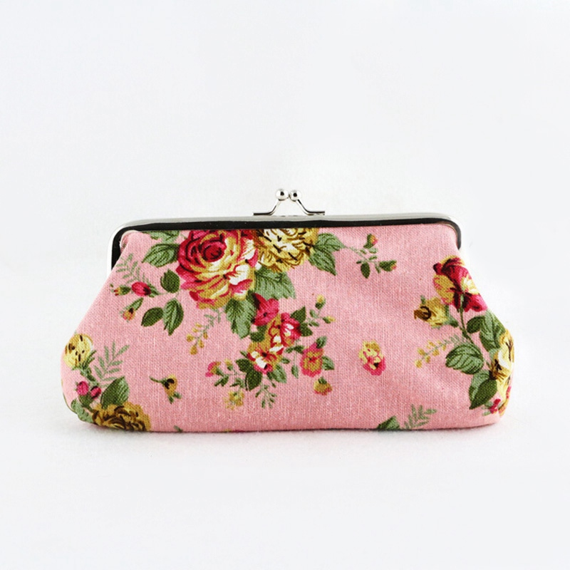 2016 Hot Sale Vintage Retro Canvas Coin Purse Change Pockets Keyring Purse Bag Floral Printed Hasp Wallet<br><br>Aliexpress