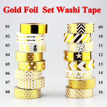 New !10m Gold Foil Washi Tape Adhesive Scrapbooking Tools Christmas Party Kawaii Photo Album MaskingTape decoration Paper Crafts