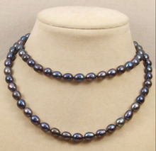 Jewelr 006452 HUGE Beautiful 49''10-12mm baroque Natural tahitian black pearl necklace(China)