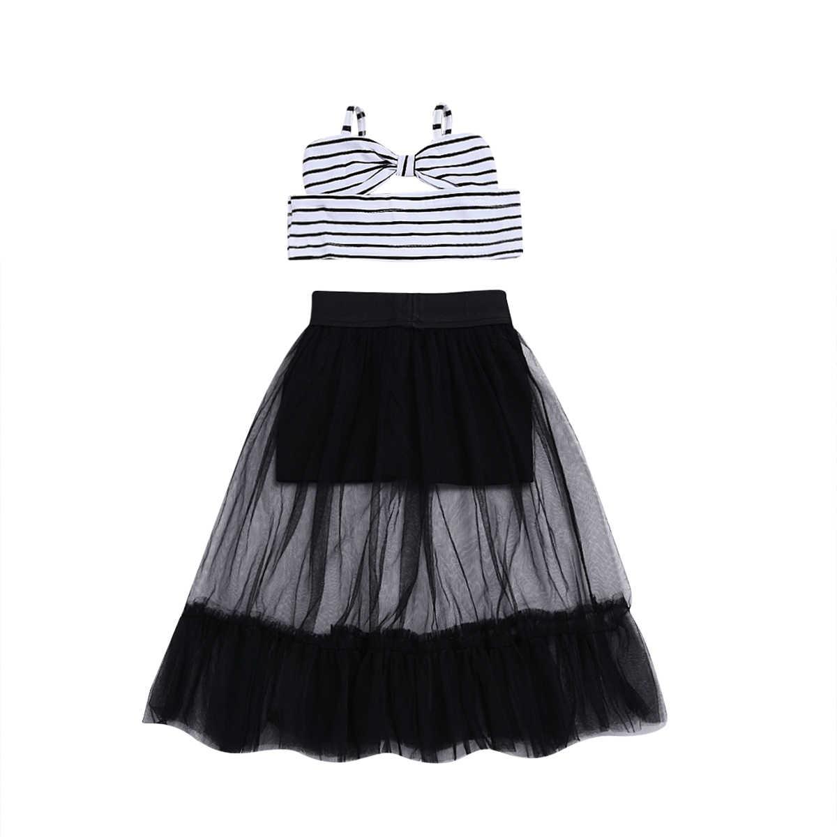 3147b4bbc184 2Pcs Toddler Baby Kids Girls Dress Summer Sleeveless Striped Crop Tops  Ruffles Tulle Skirt Casual Child
