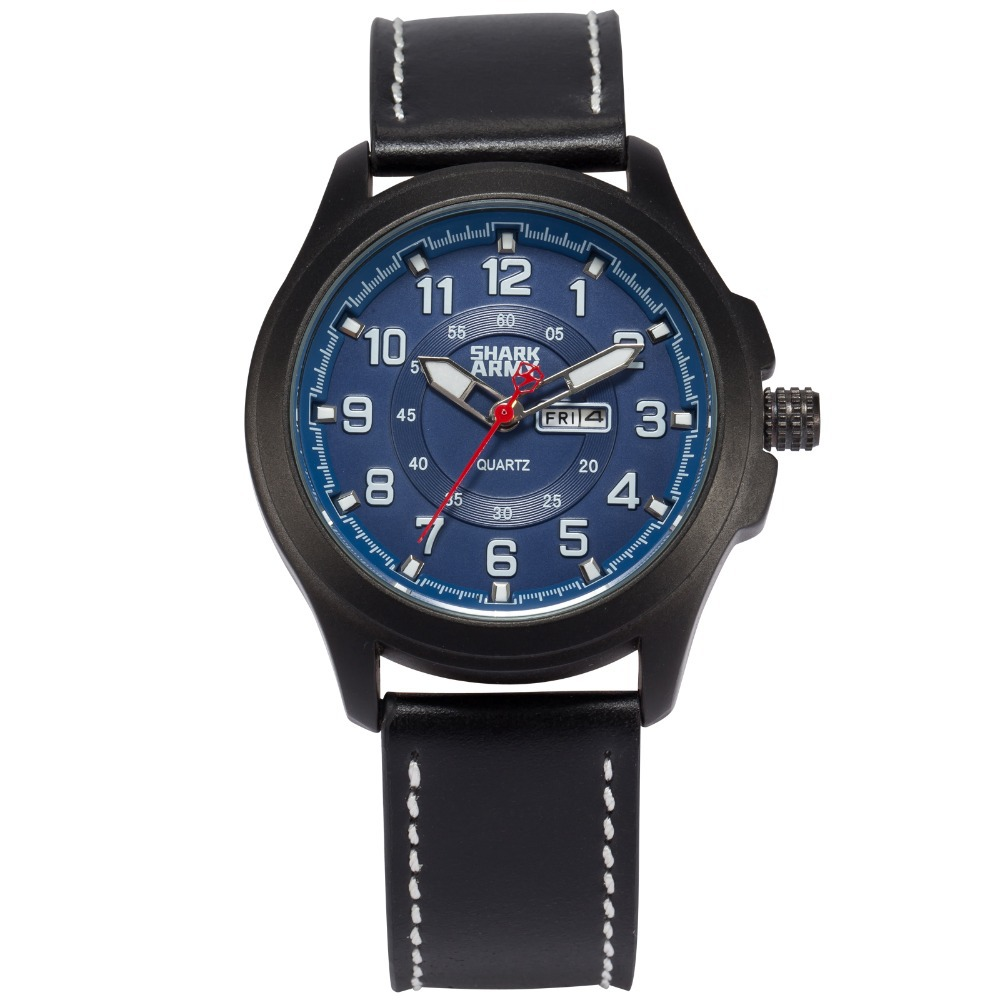 Shark Army Hodinky Auto Date Day Display Leather Band Relogio Analog Montre Homme Erkek Saat Sport Military Wristwatch /SAW122<br>