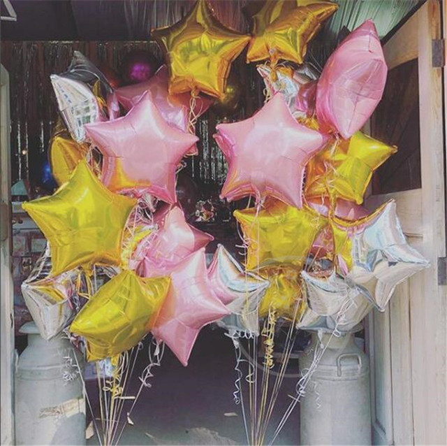 9pcs 18inch Gold Pink Silver Star Foil Helium Balloons Wedding Birthday Party Decorations Balons Marriage Globos
