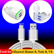 US / EU AC Plug Charger, Dual USB Car Charger for Huawei Honor 8 , Note 8 , V8 , P9 Nova/Nova Plus Type C Data Sync Charge Cable