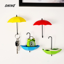 SHINE Free Shipping 1PCs Umbrella Wall Hook Key Hair Pin Holder Colorful Organizer Decor Decorate bottoni botoes New Arrival(China)