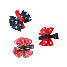 M MISM 3 Patterns 20Dots Ribbon Bow Hairpins Perfect Quality Top Knot Hairgrips Kids Girls Hair Care Hair Accessories Headwear