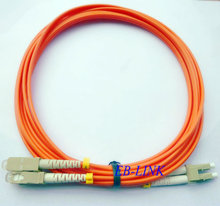 Optical Fiber Jumper Patch Cord Cable,LC/PC-SC/PC,3.0mm Diameter,OM2 Multimode 50/125,Duplex,LC to SC 15Meters