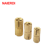 NAIERDI 4PCS 16mm Copper Barrel Hinges Cylindrical  Hidden Cabinet Concealed Invisible Brass Hinges For Door Cabinet Hardware