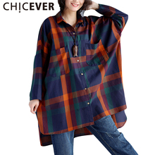 CHICEVER 2017 Long Sleeve Hit Colors Plaid Loose Plus Size Summer Dress Women Tunic Batwing Sleeve Dresses Female Clothes Korean(China)