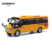 HOMMAT 1:32 US Yellow School Bus Alloy Diecast Toy Vehicle Car Model Die Cast Metal Collection Gift Pull Back Light Sound(China)