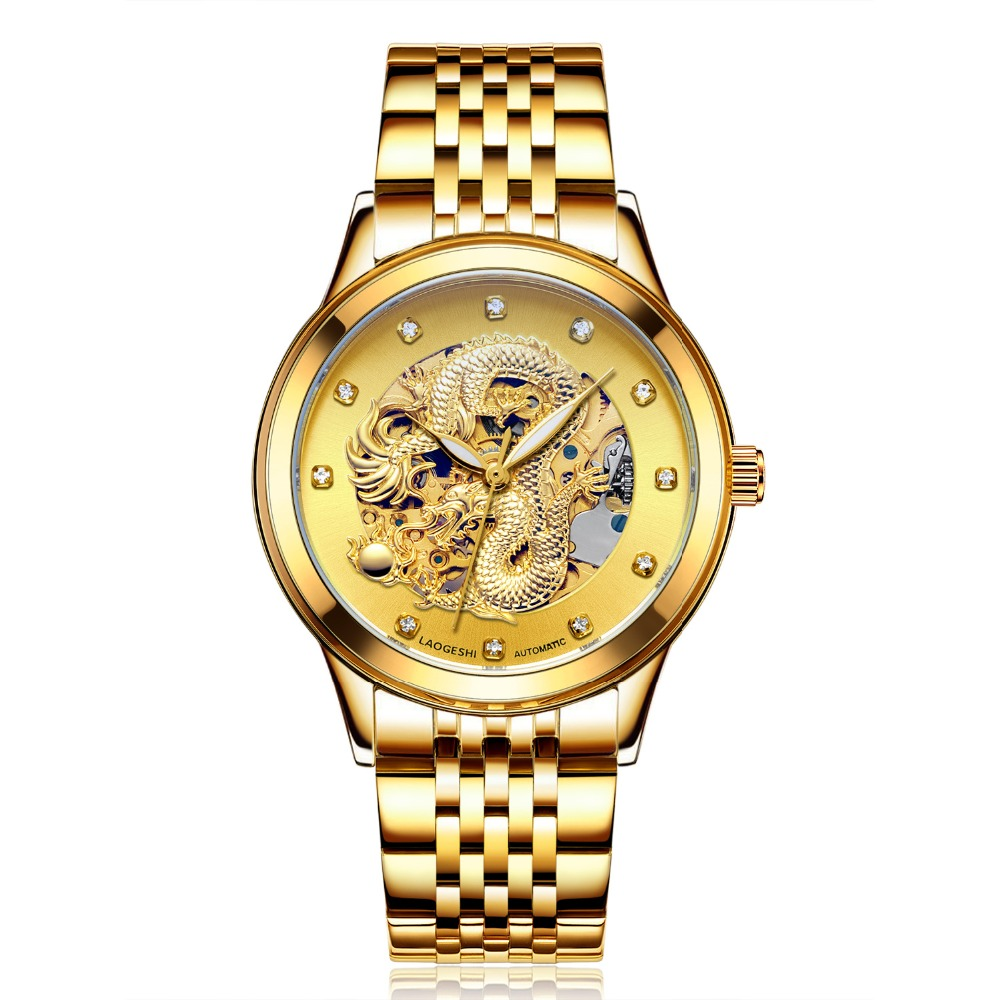 new hot sale Dragon&amp;Phoenix lovers Stainless Steel watches hollow automatic mechanical watch luminous carving Relogio Masculino<br>