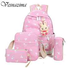 VZ canvas school girl bag kid's backpack rabbits small canvas bag phone pocket laptop student's backpacks pink lilac rucksack(China)