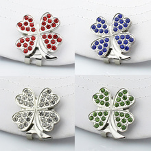 Free Shipping New Beatiful Crystal Four leaf clover Golf Hat Clip Golf Ball Marker Wholesale