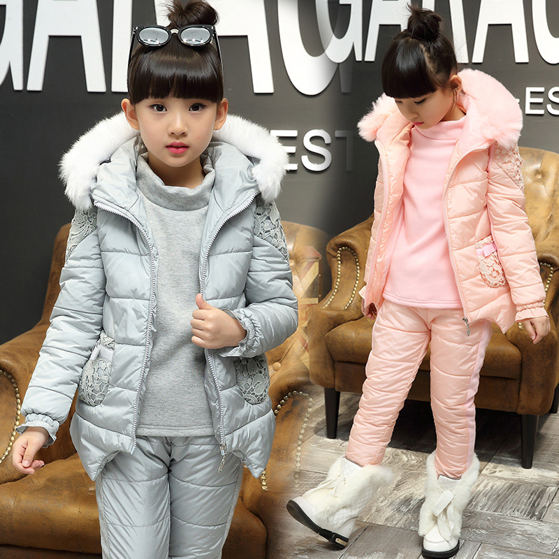 2017 Kids Girls Suit Winter In The Big Three Piece Girl Child Thick Cotton Padded Jacket<br>