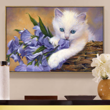5D DIY Diamond Painting Full Square Diamond Mosaic Painting Cross Stitch White Cat &Purple Flowers Needlework Home Decorative