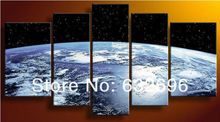 Free shipping 100% hand-made 5 panel the earth planel High quality painting design wall art home decor oil painting on canvas(China)