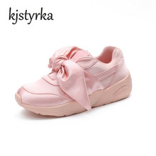 Kjstyrka 2018 Spring Autumn New Fashion Shoes Women Stain Bow Tie Ribbon Satin Flats Casual Comfortable Shoes Pink Green sapatos(China)
