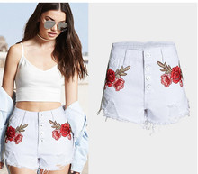 Women Summer Holes Tassel Embroidery Shorts High Waist Denim Flower Printing Casual Jeans Shorts Irregular Plus Size Short K314(China)