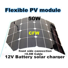 sun power 50w flexible solar panel solar, rechargeable battery with 0.9M cable MC4 connector,  12V battery solar charger.