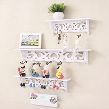 NEW White Hollow-out decorative pattern Wall Clapboard Hook Storage Holders Racks Wooden Portable Furniture Wall shelves Hanger