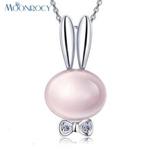 MOONROCY Free Shipping Jewelry Silver Color Rubbit Animal Ross Quartz CZ Crystal Pink Opal Necklace for Women Girls Gift Choker