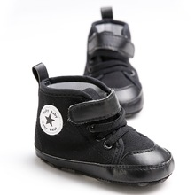 2017 New Fashion Black Sneakers Newborn Baby Soft Bottom Indoor Toddler Shoes Baby First Walkers Baby Boy Non-slip Shoes