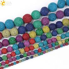 CSJA Natural Round Lava Stone Beads Rainbow Volcanic Ball 4 6 8 10 12 14 16 mm Men Women Jewelry Bracelet Necklace Making E194