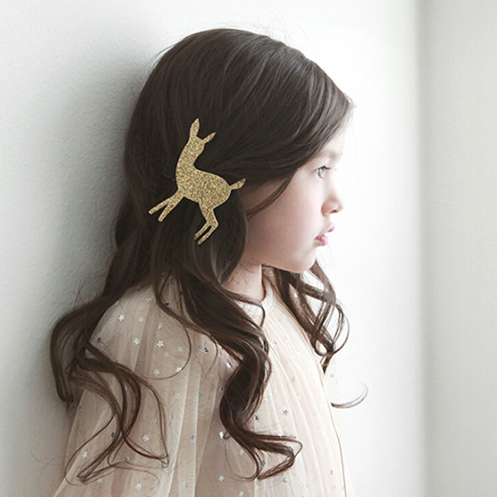 1 PC Gold/Silver Design Korean Cute Cartoon Glitter Deer Hairpins Hair Clips for Girls Children Kids Hair Accessories