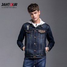 winter Fashion 2017 new Men's blue Denim Jacket Men Military Jeans Jacket printing Brand Male warm Coats Jackets man Clothing(China)