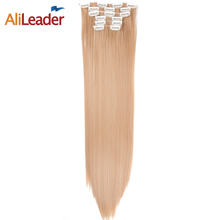 AliLeader Heat Resistant Synthetic Hair Clip Extensions 16 Clips 6 Pcs/Set 140G 22 Inch Long Straight Clip In False Hair Pieces