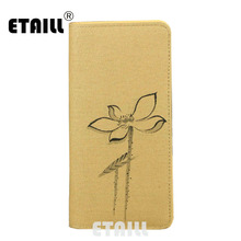 ETAILL Lotus Hand Painted Brand Zipper Women Wallet Chinese Wind Flower Painting Ladies Retro Day Clutches Money Phone Bags