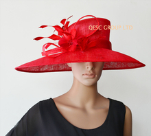 2017 NEW 5 colours Red Large brim Sinamay Hat Kentucky Derby Hat Ladies Hat for Ascot Races,Melbourne Cup,wedding church.