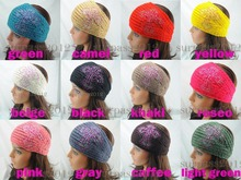 NEW FASHION Adult Colored Crysta Cross Headband Knit Hairband Women Crochet Ear Warmer Headwrap 12 pcs