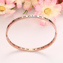 Titanium Steel Rose Gold Roman Numeral Bracelet with Cubic Zirconia Hinged Bangle