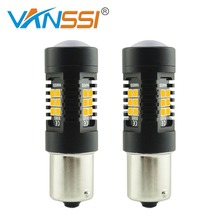 VANSSI 2x PY21W LED Bulb BAU15s 7507 LED Amber 21SMD Replacement Bulb Turn Signal Indicator Lamps High Performance Black Series(China)