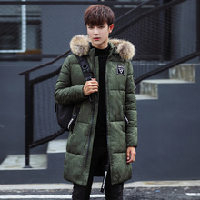 17 new men's clothing in winter, long camouflage, hair collar, warm coat, male C416-M07-P135 model, army green
